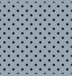 Tile pattern with black polka dots on grey backgro vector