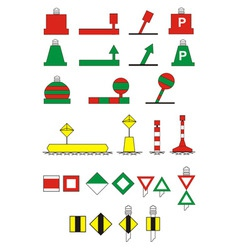 traffic signs river navigation vector image