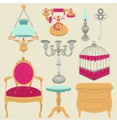 vintage retro decor items vector image vector image