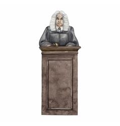 Watercolor judge in a wig vector image