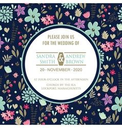 Wedding invitation with dark floral background vector