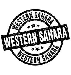 Western sahara black round grunge stamp vector