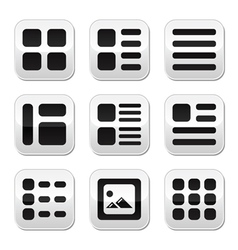 Website gallery view display options buttons set vector
