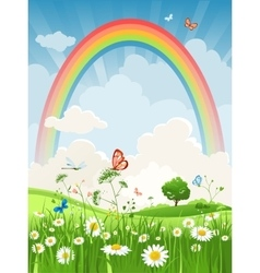 Summer day with rainbow vector image