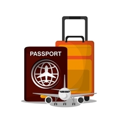 Airplane vehicle and passport to travel design vector