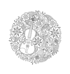 Coloring page with ornamental violin in circle vector