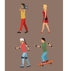 Four person walking roller skating music vector