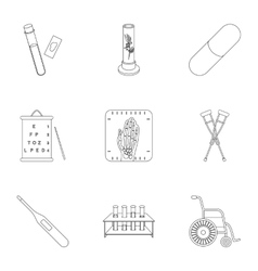 Medicine and hospital set icons in outline style vector