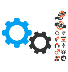 Gears icon with lovely bonus vector
