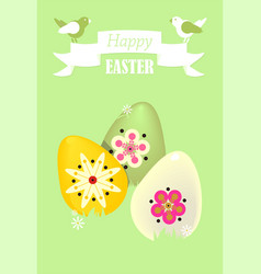 Postcard with a birds and easter eggs vector