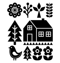 finnish inspired folk art pattern - scandinavian vector image