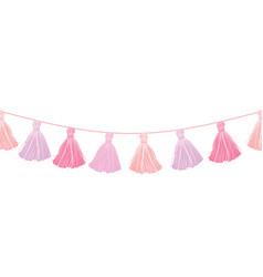 Baby girl pink hanging decorative tassels vector