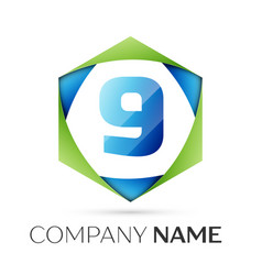 number nine symbol in colorful hexagonal vector image