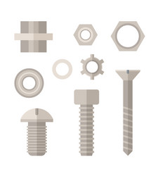 screw bolt and nut icons set vector image