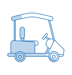 Blue shading silhouette cartoon golf cart vehicle vector