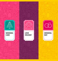Line wedding patterns set vector
