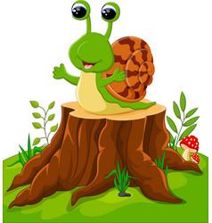 cute snail isolated on tree stump vector image