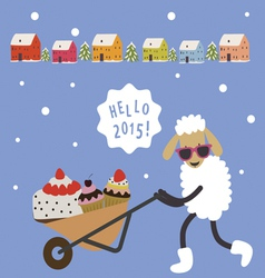 Holiday card with cartoon sheep and sweets vector image