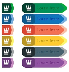 King crown icon sign set of colorful bright long vector