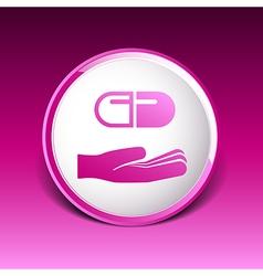 Hand holding pill tablet sign symbol medicine vector
