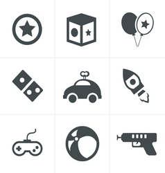 Toy icons mono symbols vector