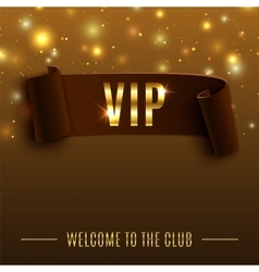 Vip background with realistic brown curved ribbon vector