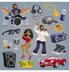 Rap music elements vector