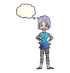 Cartoon woman with heavy tattoos with thought vector