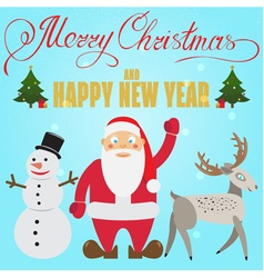 Christmas poster design with santa claus deer snow vector