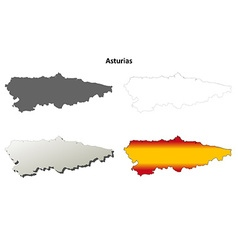 Asturias blank detailed outline map set vector