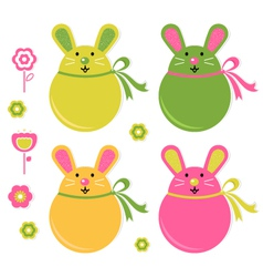 Easter bunny stickers vector