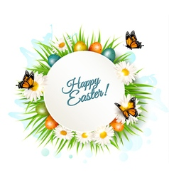 Easter banner with easter eggs and daisies vector