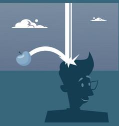 Apple falling on big head new idea concept vector