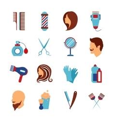 Barbershop hairdresser flat icons set vector