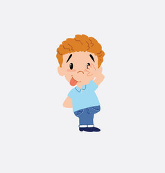 blond boy in jeans sticks out his tongue in vector image
