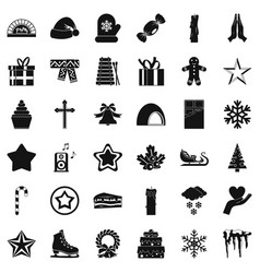 Christmas ornament icons set simple style vector