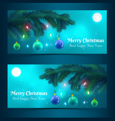 christmas tree banners vector image vector image