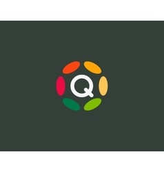 Color letter q logo icon design hub frame vector