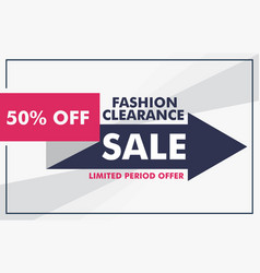 Fashion sale banner design with arrow template vector