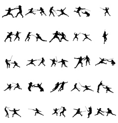 Fencing silhouette set vector image