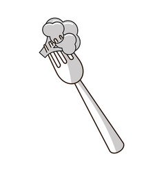 Figure organ food fork with broccoli vegetable vector