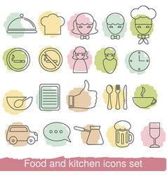 Food and kitchen line icons food and kitchen line vector