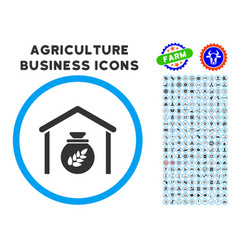 grain storage rounded icon with set vector image