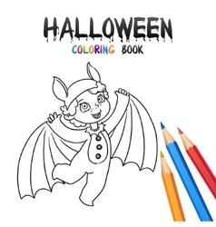 Halloween Coloring Book Cute Baby Cartoon vector image
