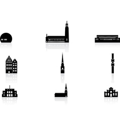 Landmark icons - Stockholm vector image vector image