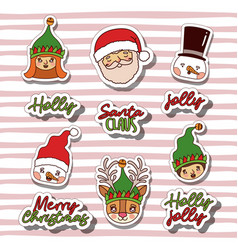 merry christmas with sticker faces of gnomes and vector image