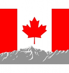 mountains with flag of Canada vector image vector image