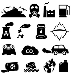 Pollution global warming and environment icons vector image