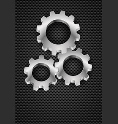 Realistic gearwheel on black for design vector