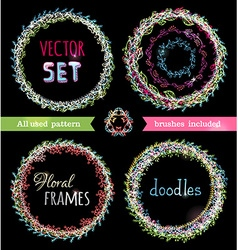 set of doodles floral frames vector image